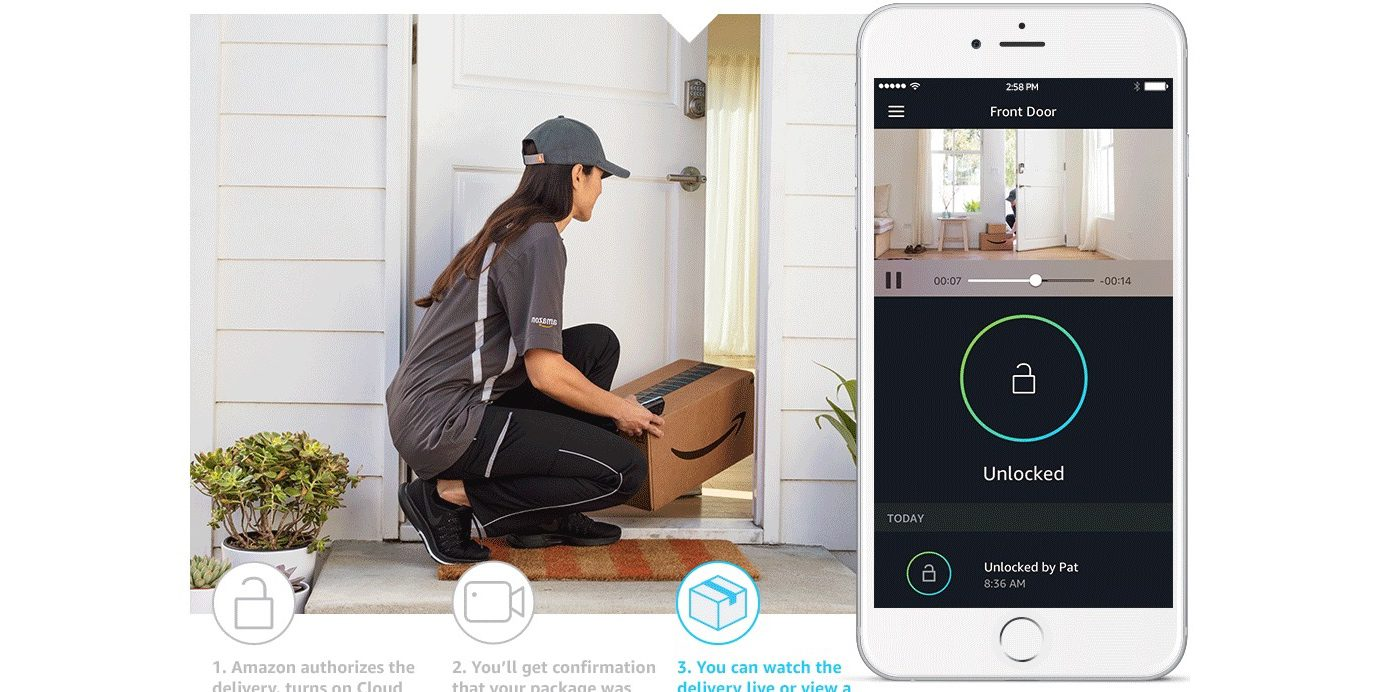 amazon launches smart lock and security cam system to take in home deliveries for prime members. Black Bedroom Furniture Sets. Home Design Ideas
