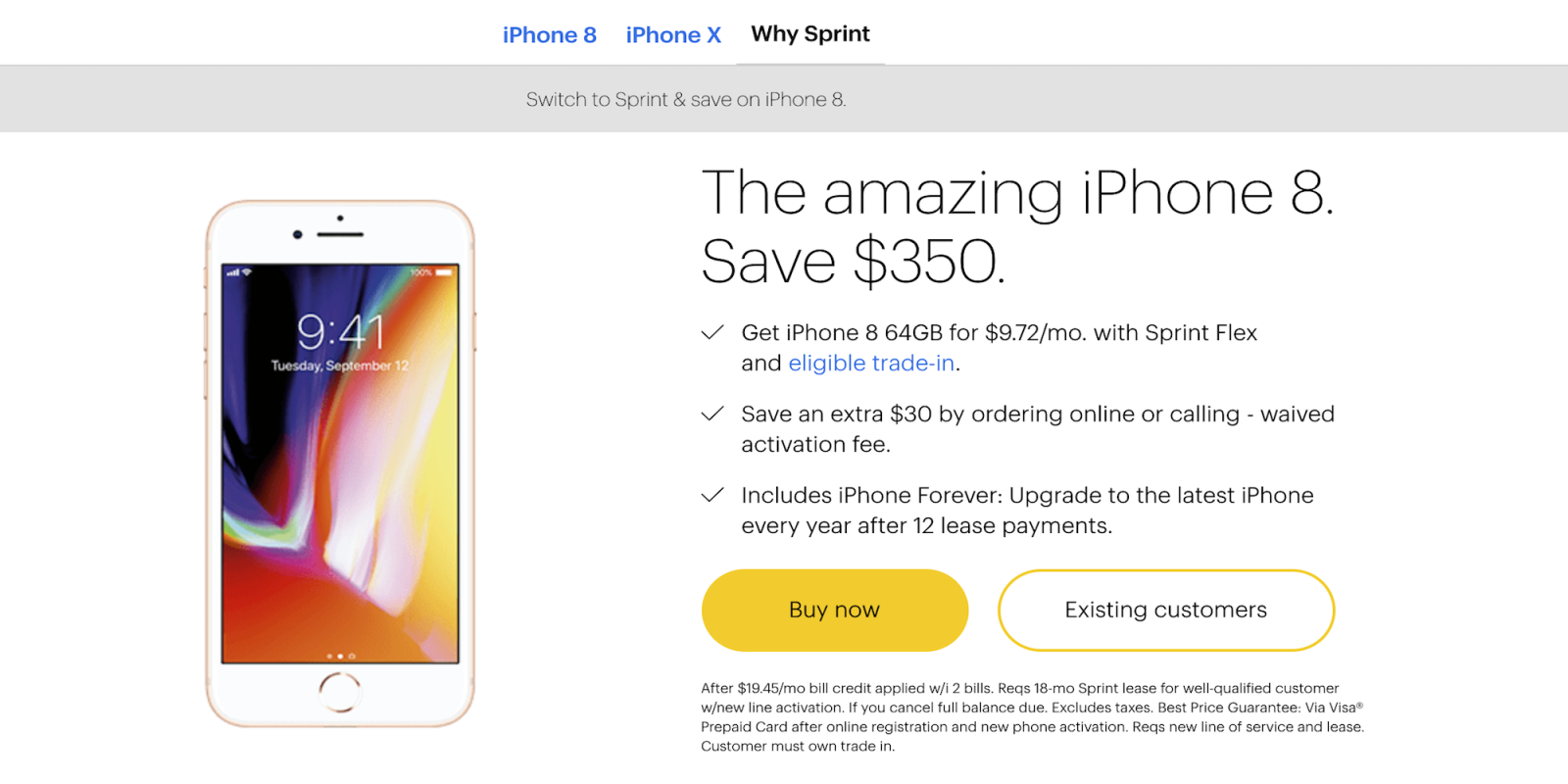 sprint iphone upgrade sprint offers new iphone 8 amp 8 plus deals starting at 0 1027