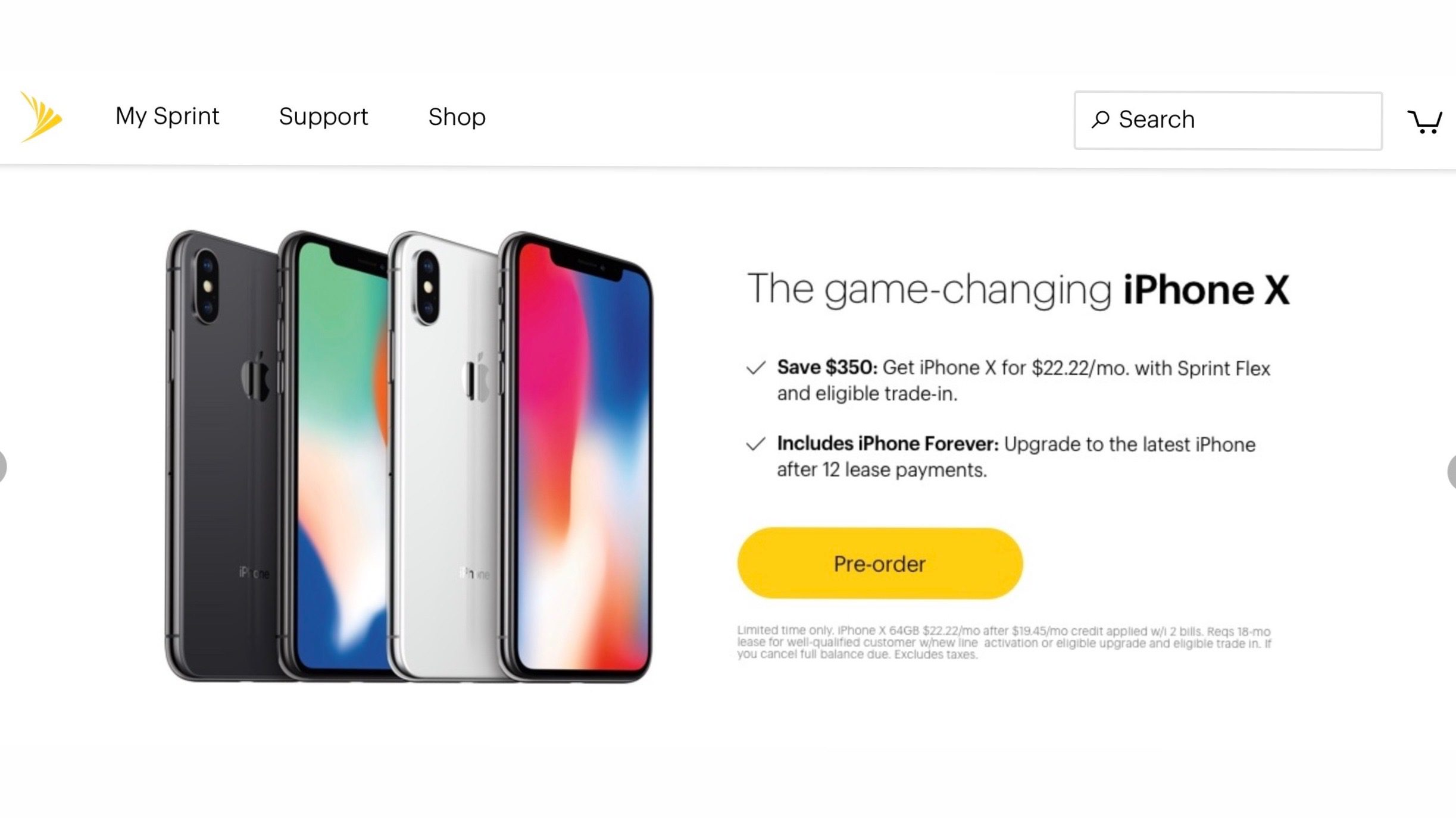Sprint website still showing iPhone X shipping for launch ...