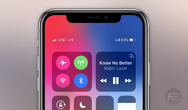 how to get to control center on iphone x