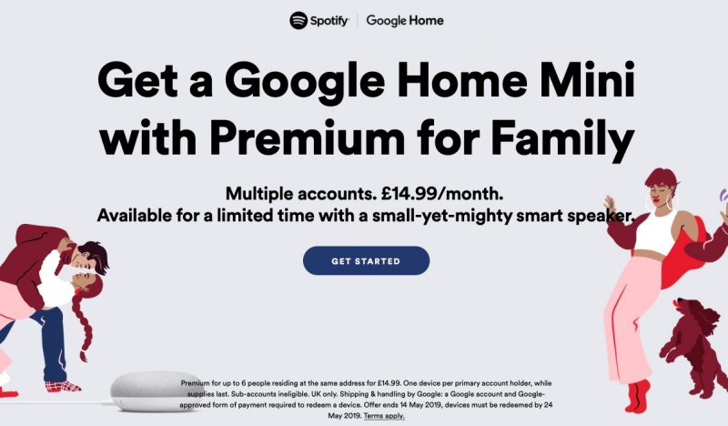 Spotify Offering UK Family Plan Subscribers a Free Google Home Mini